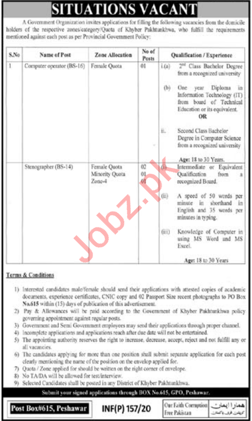 P O Box No 615 GPO Peshawar Jobs 2020 for Computer Operator