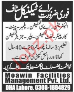 Moawin Facilities Management Pvt Limited Jobs 2020 in Lahore