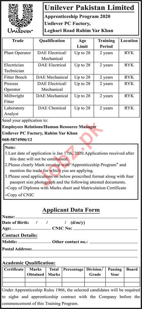 Unilever Pakistan Limited Jobs 2020 in Rahim yar Khan