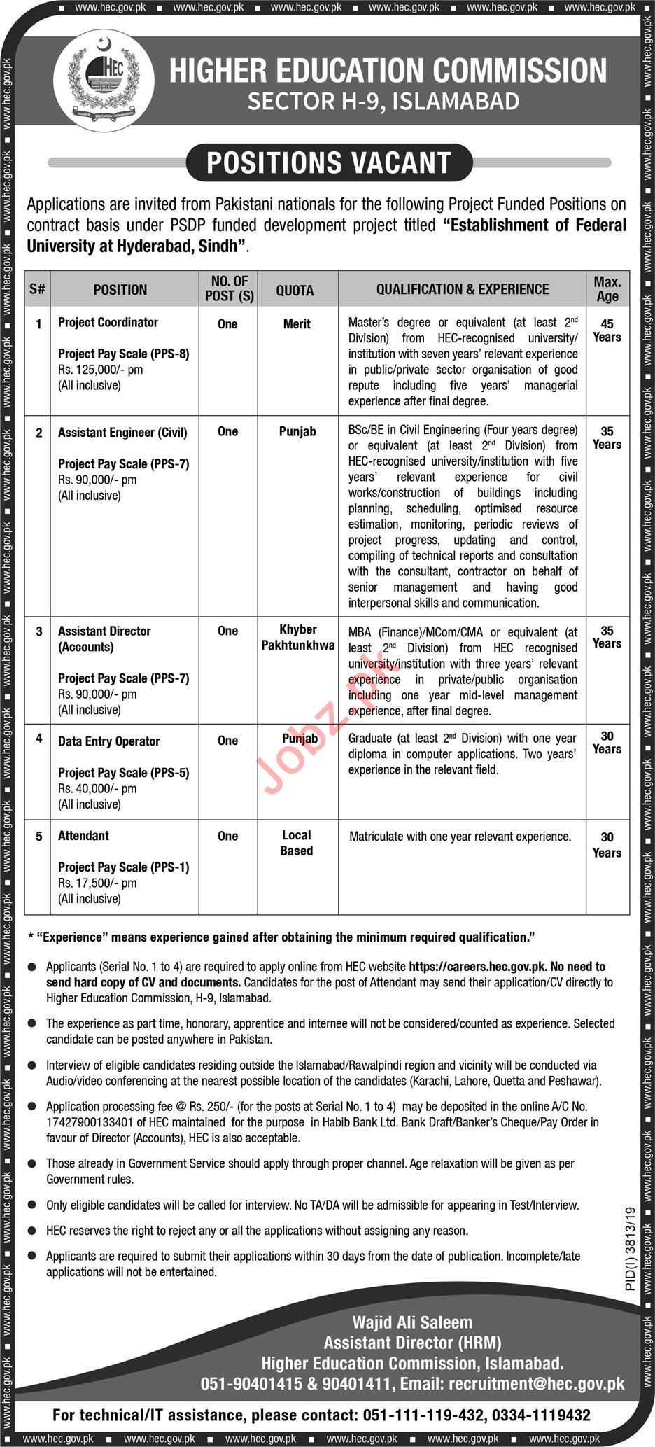 Higher Education Commission HEC Jobs 2020 in Hyderabad