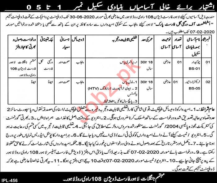 Lahore Forest Division Jobs 2020 in Lahore