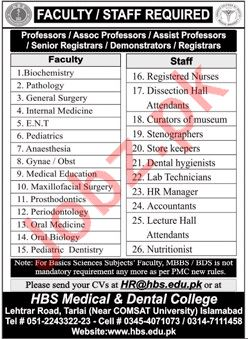 HBS Medical & Dental College Faculty & Staff Jobs 2020