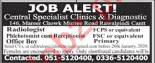 Central Specialist Clinics & Diagnostic Rawalpindi Jobs 2020