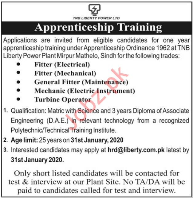 Apprenticeship Training Jobs in TNB Liberty Power Limited