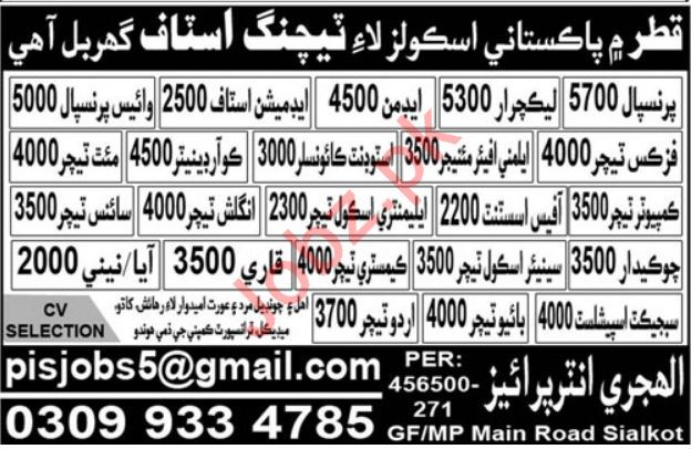 Teaching & Admin Staff Jobs in Qatar Pakistani Schools