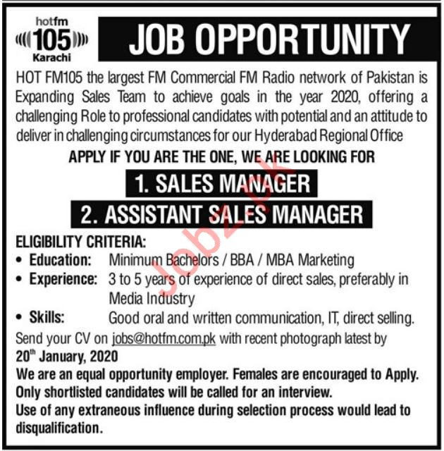 Sales Staff Jobs in Hot FM105 FM Commercial Radio Network