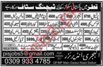 Pakistan Schools in Qatar Teaching Staff Jobs 2020