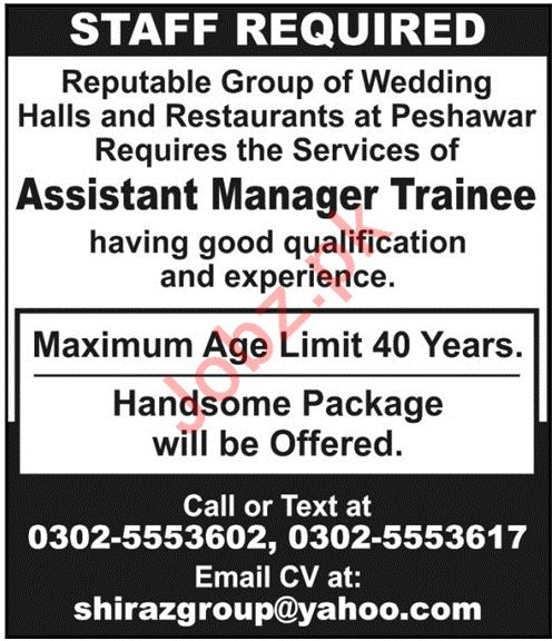 Assistant Manager Trainee Jobs in Wedding Halls & Restaurant