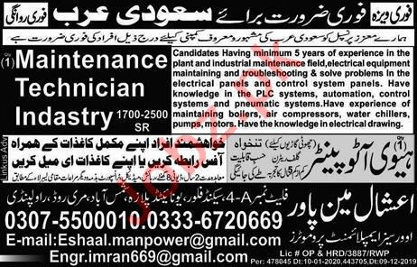Heavy Auto Painter Maintenance Technician Jobs 2020 2020 Job Advertisement Pakistan