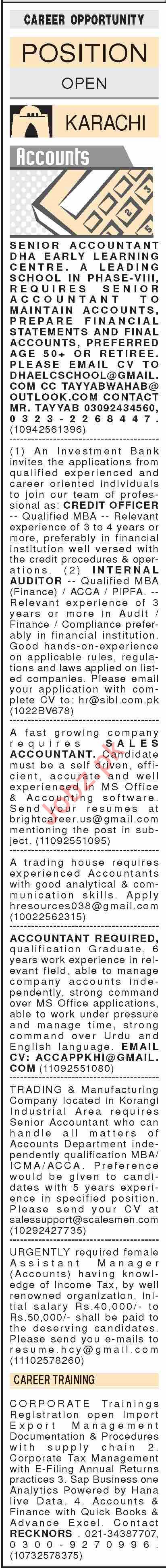 Dawn Sunday Classified Ads 12 Jan 2020 for Accounts Staff