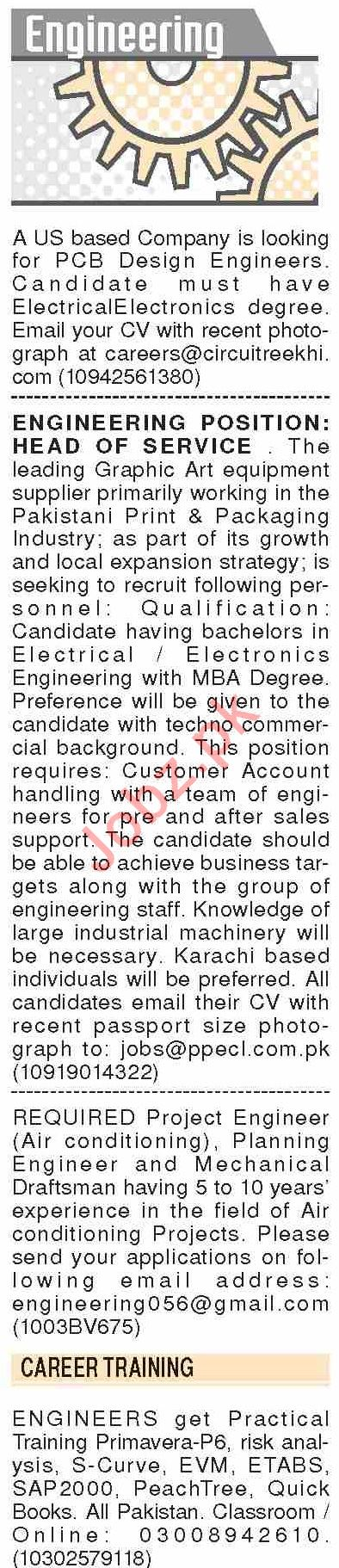 Dawn Sunday Classified Ads 12 Jan 2020 for Engineering Staff
