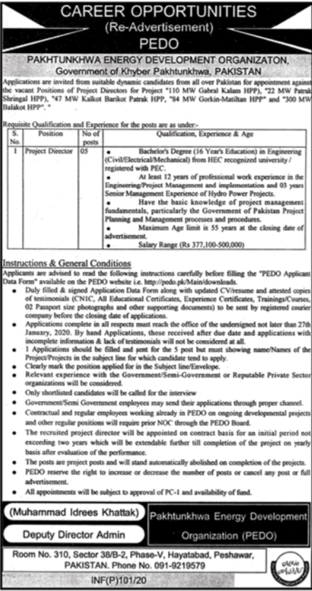 Project Director Jobs in Pakhtunkhwa Energy Development PEDO