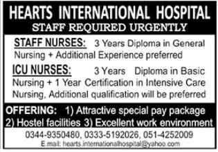 Hearts International Hospital Nursing Staff Jobs 2020
