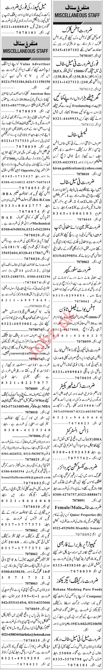 Jang Sunday Classified Ads 12 Jan 2020 for Office Staff