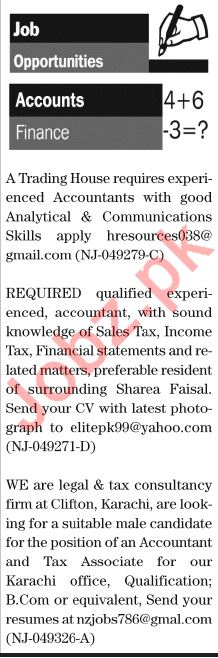 The News Sunday Classified Ads 12 Jan 2020 for Accounts