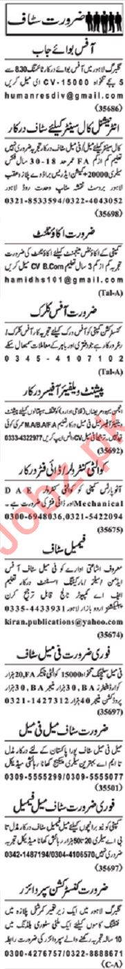 Nawaiwaqt Sunday Classified Ads 12 Jan 2020 Office Staff