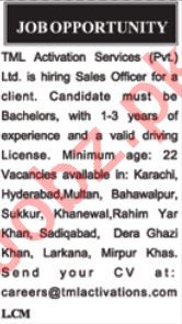 Sales Officer Jobs 2020 in TML Activation Services Karachi