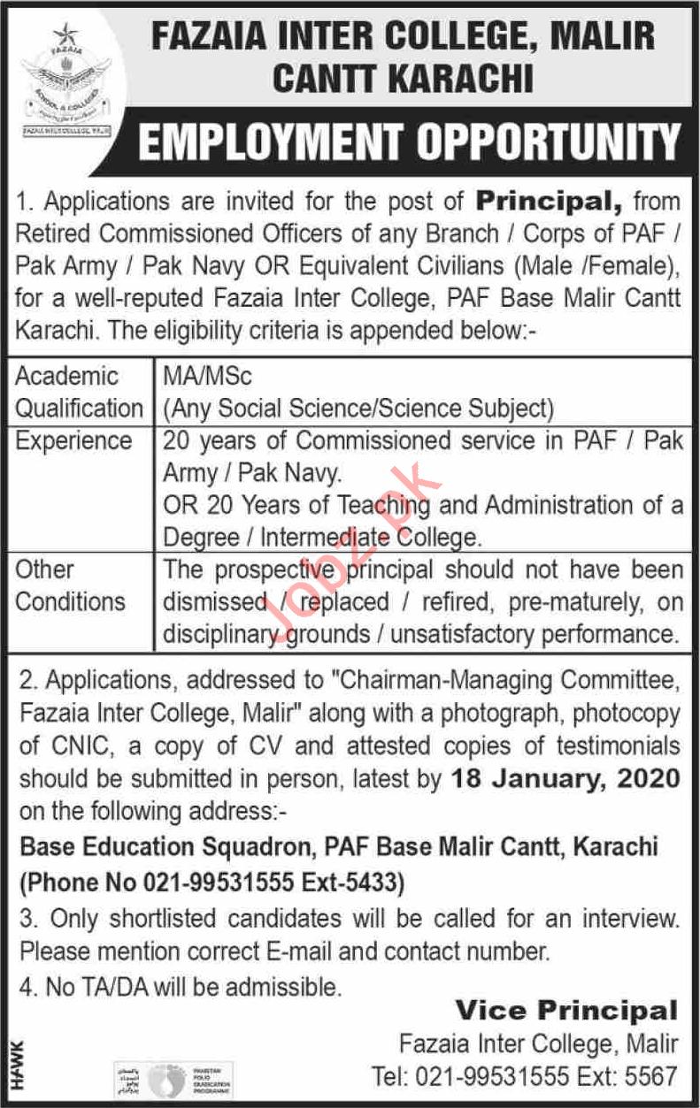 Fazaia Inter College Job For Principal in Karachi