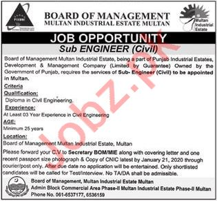 Board of Management Multan Industrial Estate Job 2020