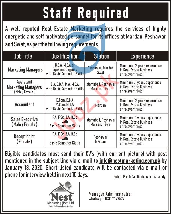 Marketing Manager Accountant Receptionist Jobs in Swat