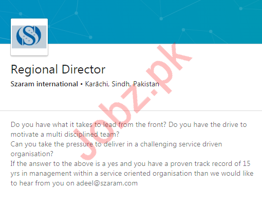 Regional Director Job in Karachi
