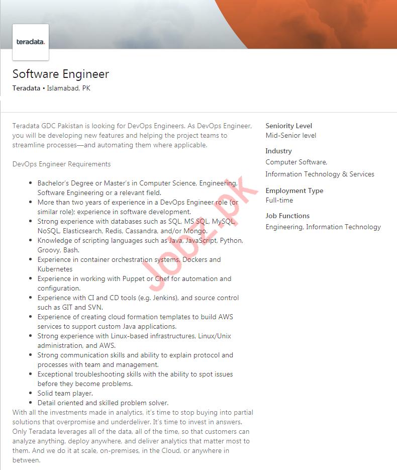 Software Engineer Job in Islamabad
