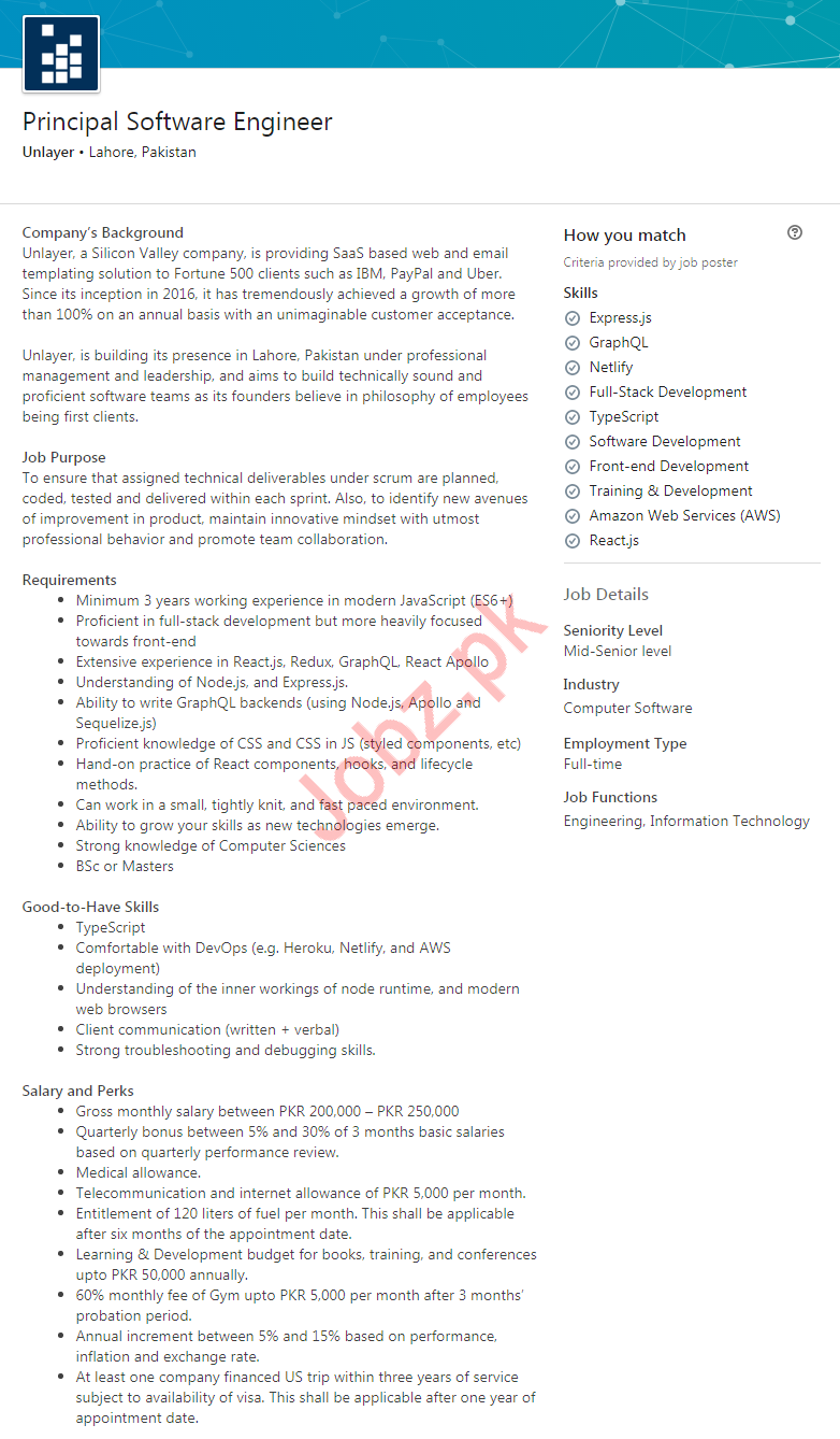 Principal Software Engineer Job in Lahore