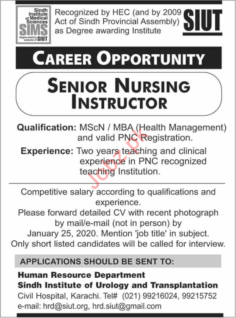 Sindh Institute of Urology & Transplantation SIUT Job 2020