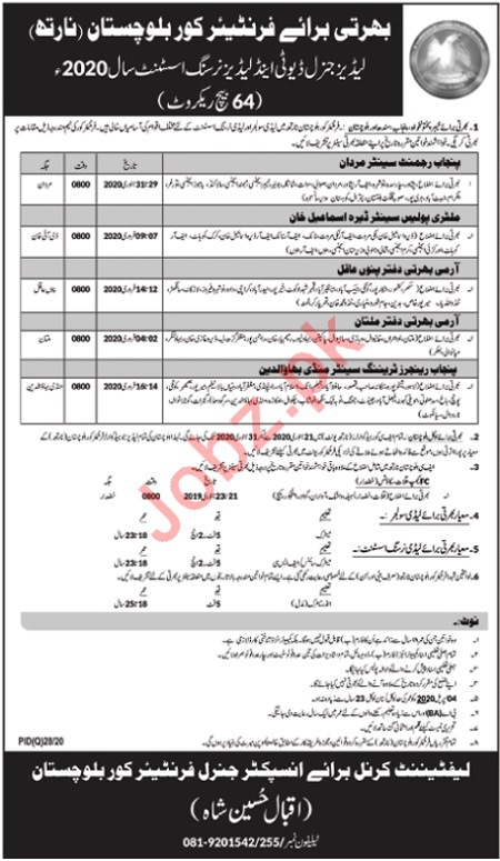 Frontier Corps Lady Soldier & Nursing Assistant Jobs 2020