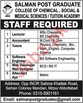 Salman Post Graduate College Teaching & Non Teaching Jobs