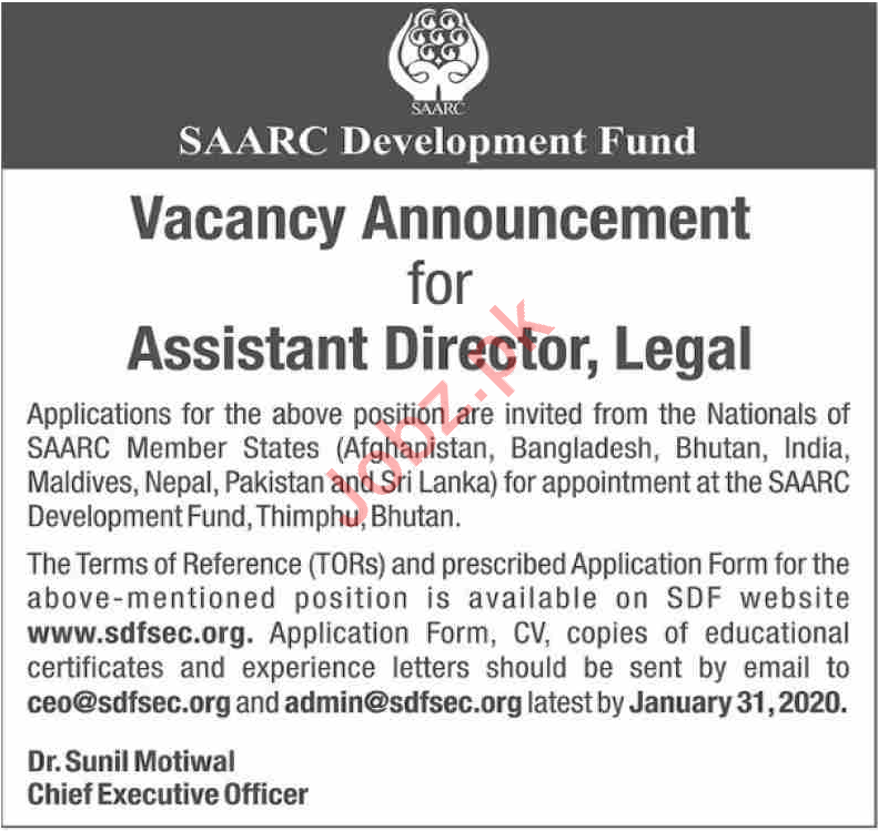 SAARC Development Fund Job For Assistant Director Legal
