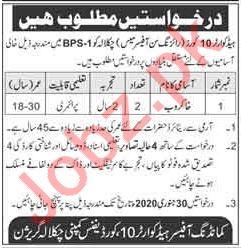 Pak Army Headquarters 10 Core Defence Company Jobs 2020