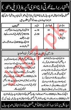 Tehsil Headquarter THQ Hospital Job For Data Entry Operator