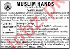 Muslim Hands Educational Complex Principal College Jobs 2020