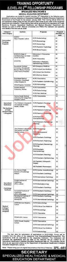 Specialized Healthcare & Medical Education Fellowship Jobs