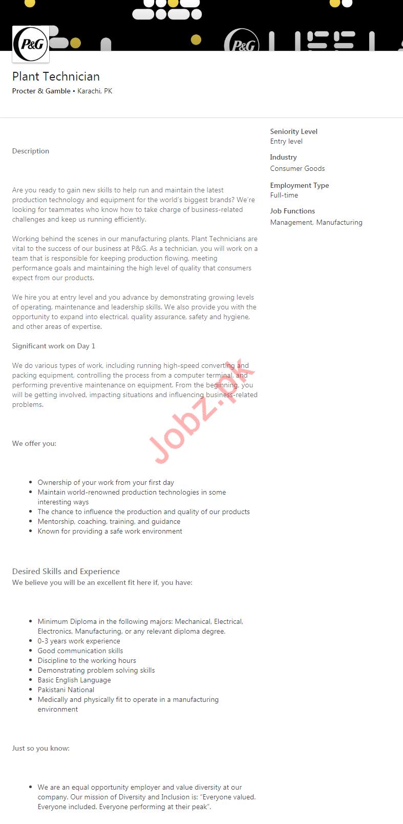 Plant Technician Job 2020 in Karachi