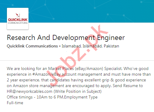 Research & Development Engineer Job in Islamabad