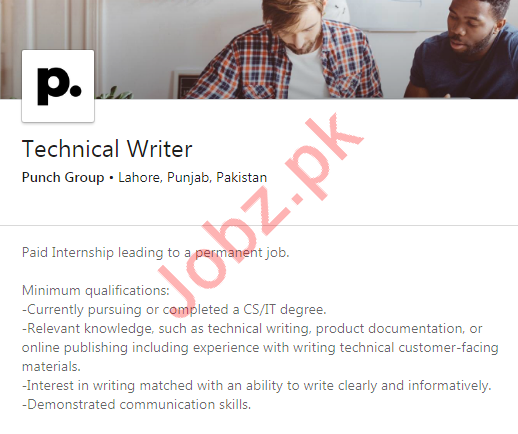 Punch Group Job 2020 For Technical Writer in Lahore