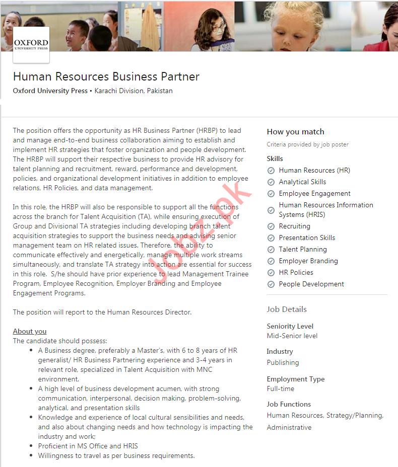 HR Business Partner Jobs in Oxford University Press