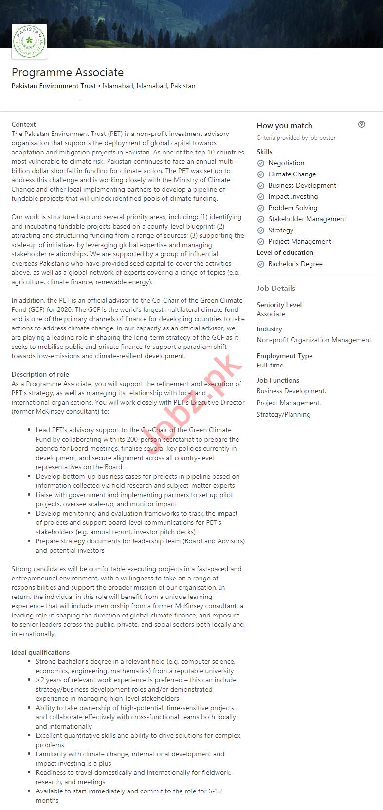 Programme Associate Jobs in Pakistan Environment Trust