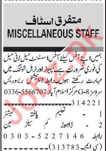 Daily Jang Management Staff Jobs 2020 in Islamabad