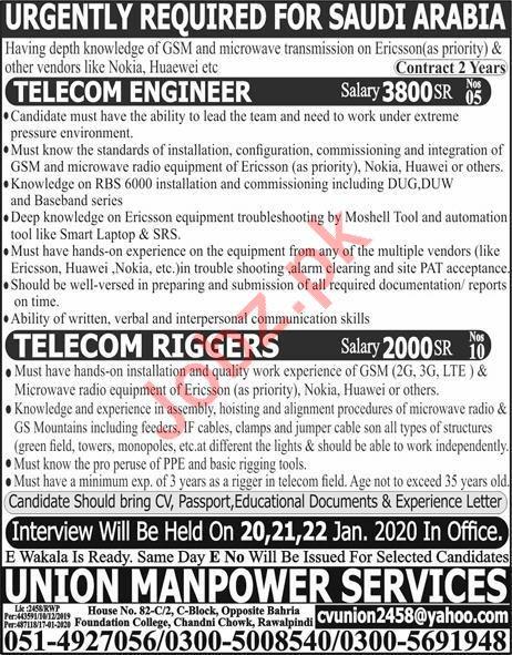 Telecom Engineer & Telecom Rigger Jobs in Sadui Arabia