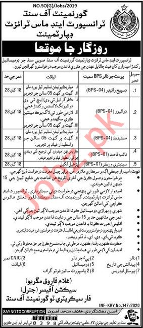 Transport & Mass Transit Department Jobs 2020 in Karachi