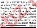Nishat Boys High School Teaching Staff Jobs 2020