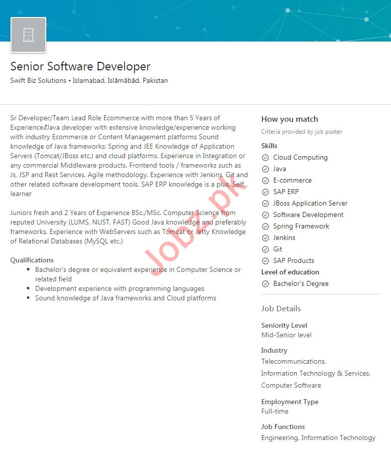 Senior Software Developer Job 2020 in Islamabad