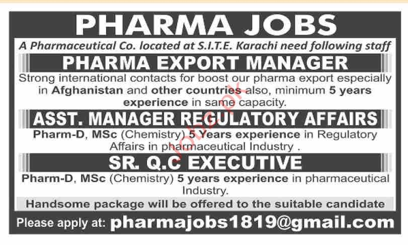 Pharmaceutical Company Jobs in Karachi