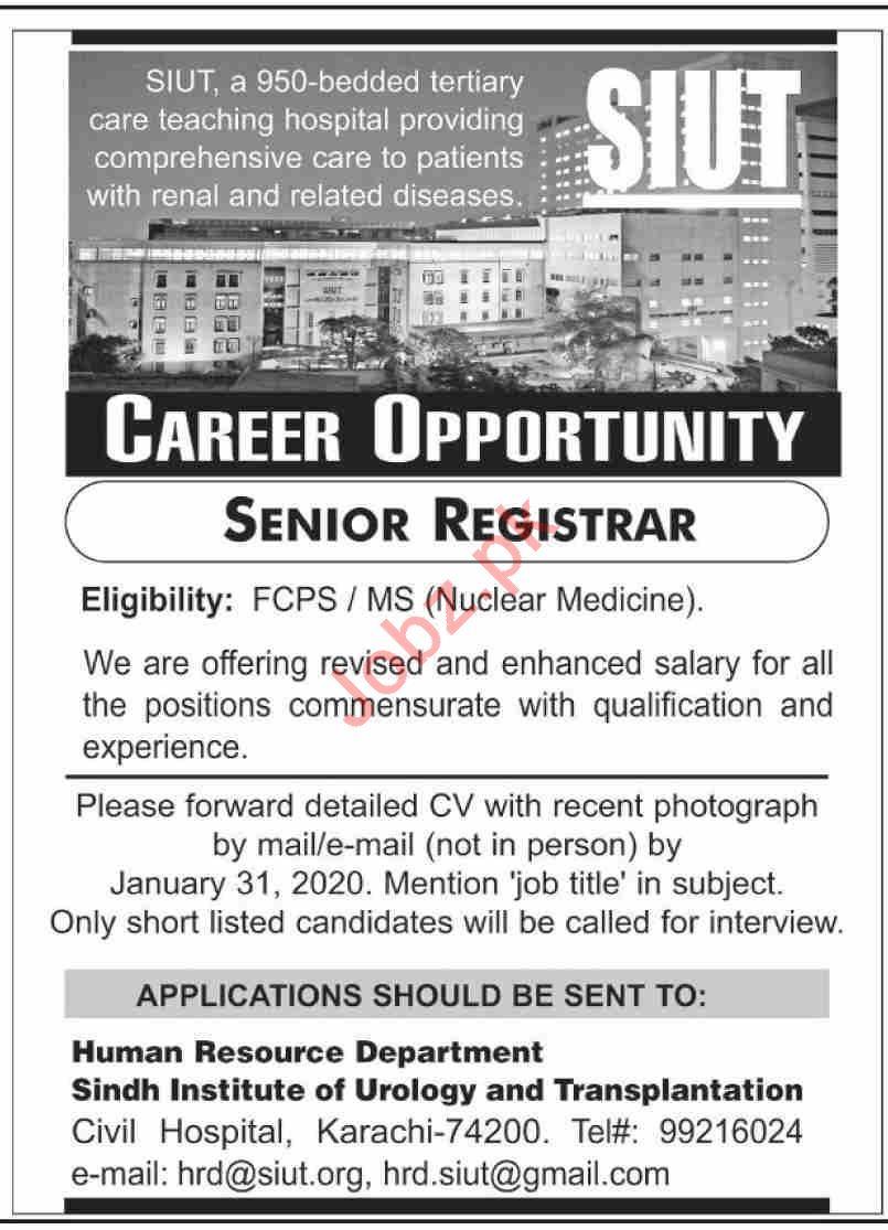 Sindh Institute of Urology & Transplantation SIUT Jobs 2020
