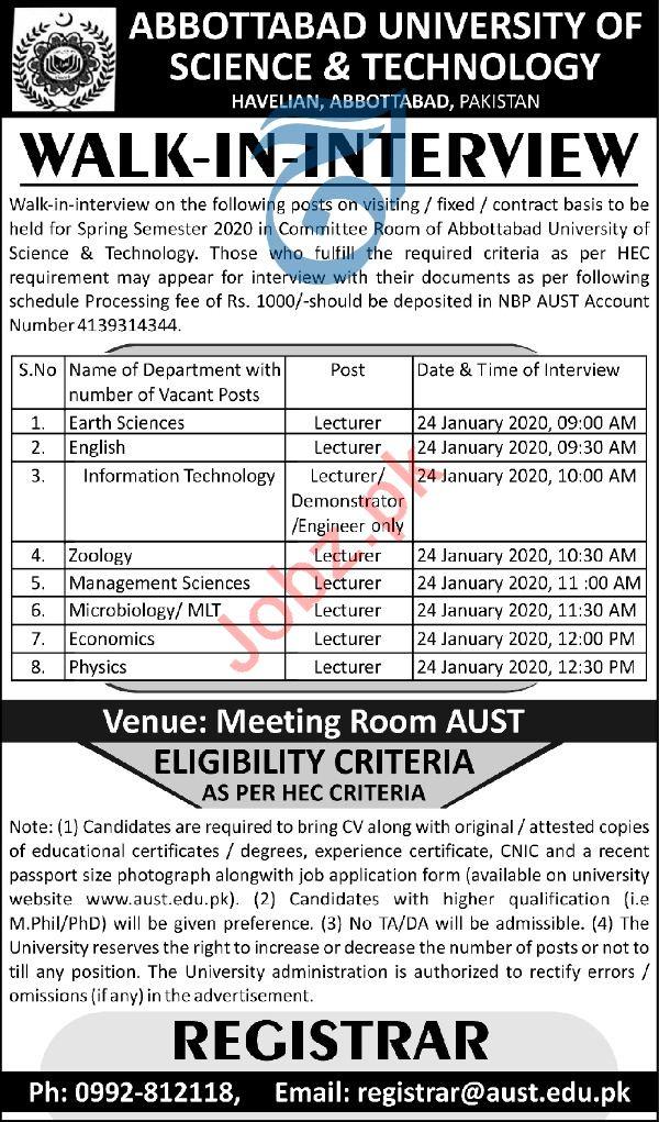 Abbottabad University of Science & Technology Jobs 2020