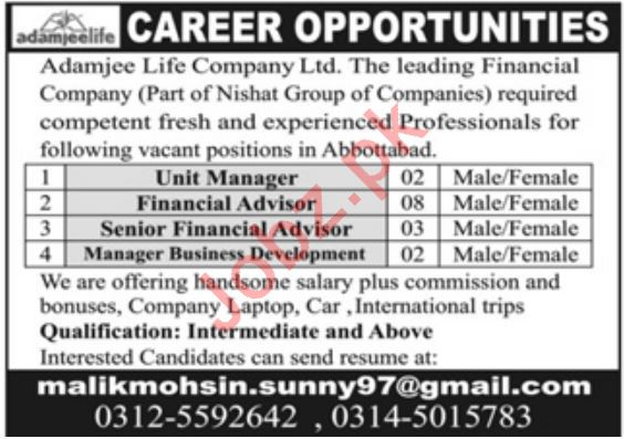 Adamjee Life Company Limited Jobs 2020 in Abbottabad