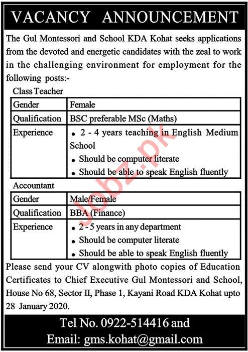 Gul Montessori and School Jobs 2020 in Kohat KPK